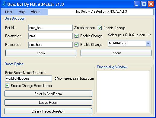 Quiz bot for nimbuzz chat room | freedom of nimbuzz.